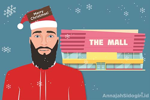 Ilustrasi seorang pegawai toko yang memakai atribut natal